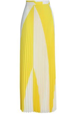 HAIDER ACKERMANN Two-tone pleated crepe de chine maxi wrap skirt