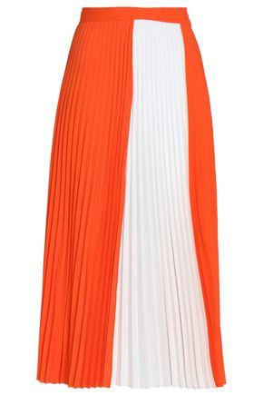 HAIDER ACKERMANN Color-block pleated crepe de chine wrap midi skirt