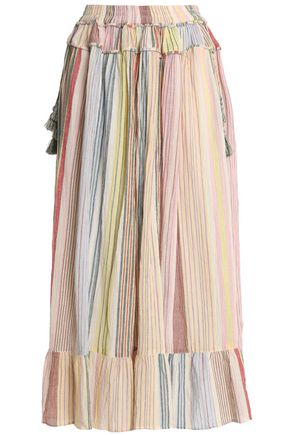 ANTIK BATIK Ruffled striped cotton-gauze midi skirt