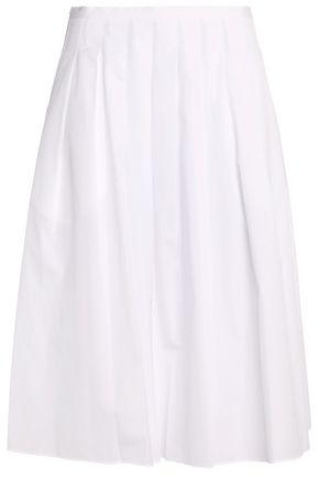 VINCE. Pleated cotton-poplin midi skirt