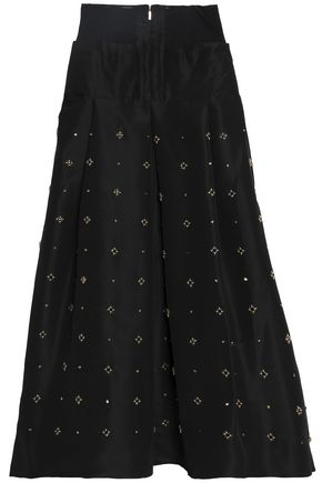 TIBI Embellished silk-faille maxi skirt