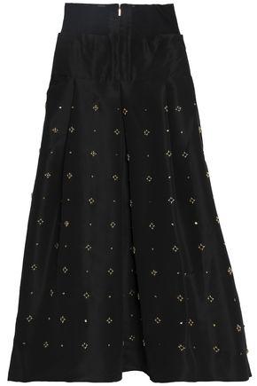 TIBI Embellished silk-faille maxi skirt