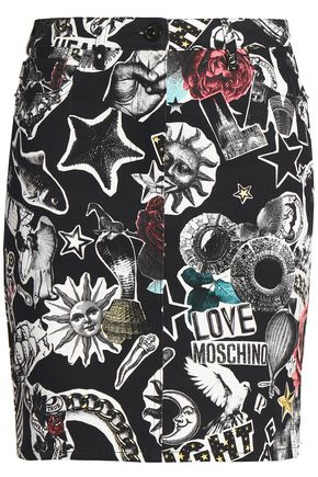 LOVE MOSCHINO Printed denim skirt