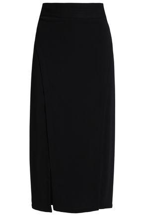 HALSTON HERITAGE Split-front crepe midi skirt