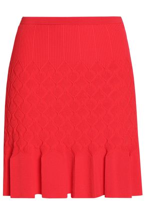 SANDRO Pleated jacquard-knit mini skirt