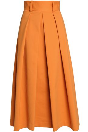 TIBI Pleated cotton-blend maxi skirt