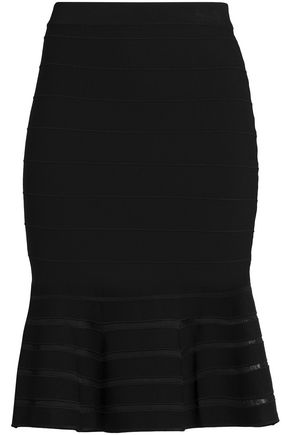 SANDRO Fluted stretch-knit skirt