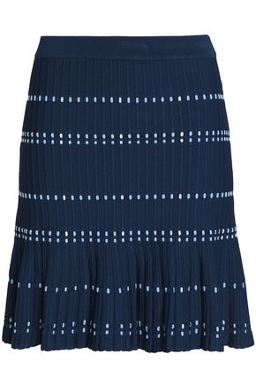 SANDRO Fluted ribbed-knit mini skirt