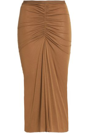 RICK OWENS LILIES Ruched jersey midi skirt