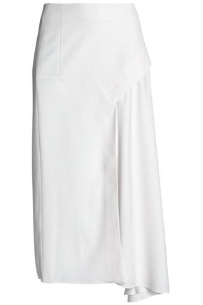 TIBI Asymmetric draped twill midi skirt