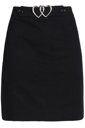 LOVE MOSCHINO Buckled cotton-blend mini skirt
