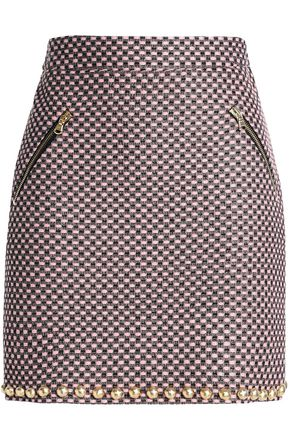 LOVE MOSCHINO Studded tweed mini skirt