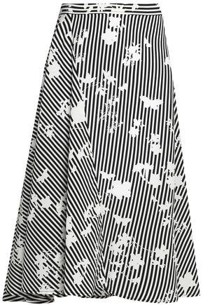 ALTUZARRA Flared printed silk-twill skirt