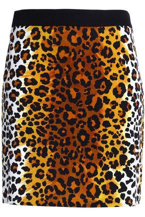 LOVE MOSCHINO Leopard-print cotton-blend velvet mini skirt