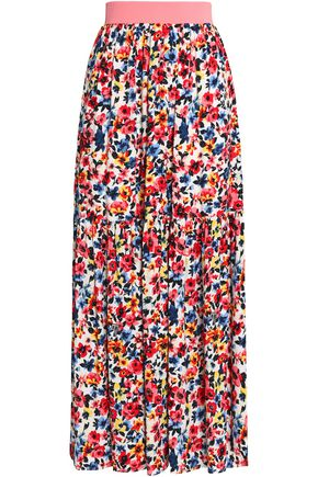 LOVE MOSCHINO Gathered floral-print crepe maxi skirt