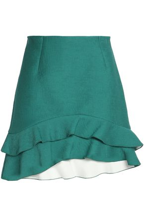 SANDRO_XX Ruffled pleated crepe de chine mini skirt