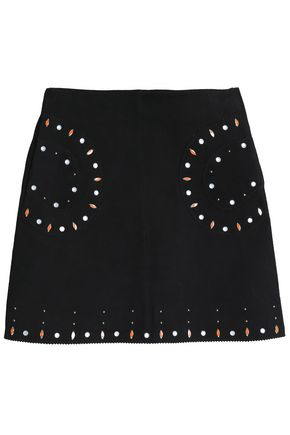 SANDRO Paris Studded suede mini skirt