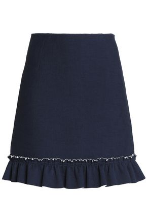 SANDRO Ruffled pleated crepe de chine mini skirt