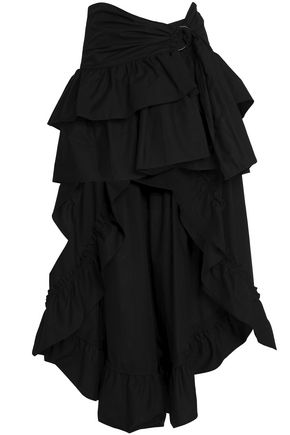 SANDRO Asymmetric ruffled cotton-poplin skirt