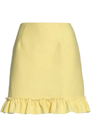 SANDRO Paris Lemon ruffle-trimmed textured-knit mini skirt