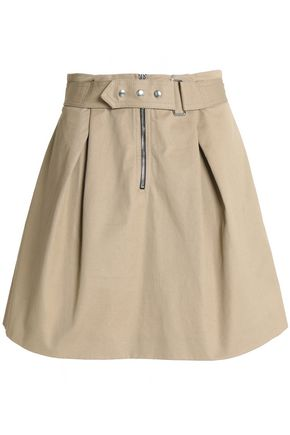 SANDRO Paris Belted pleated cotton-twill mini skirt