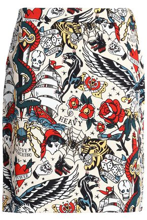 LOVE MOSCHINO Printed stretch cotton-twill skirt