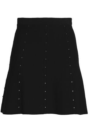SANDRO Studded stretch-ponte mini skirt