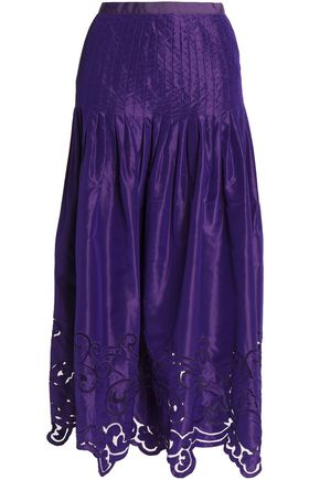 OSCAR DE LA RENTA Silk-satin pleated jacquard midi skirt