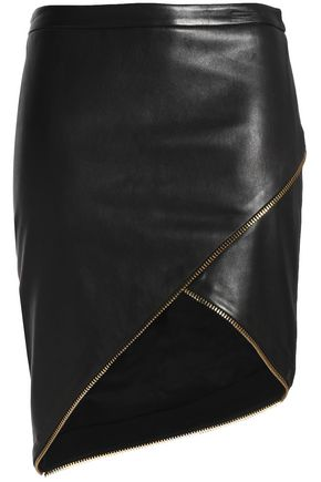 MICHELLE MASON Asymmetric zip-detailed leather skirt