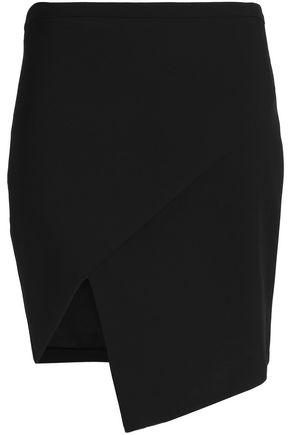 MICHELLE MASON Asymmetric wrap-effect cady mini skirt