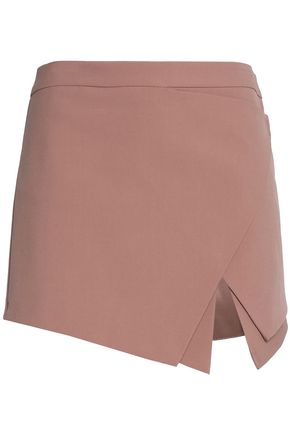 MICHELLE MASON Wrap-effect layered crepe mini skirt