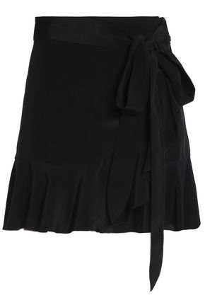 MICHELLE MASON Belted fluted silk-satin mini skirt