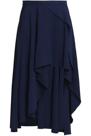 MICHELLE MASON Asymmetric ruffled crepe de chine skirt