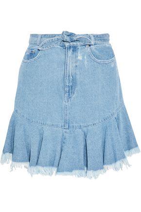ZIMMERMANN Caravan tie-front distressed denim mini skirt
