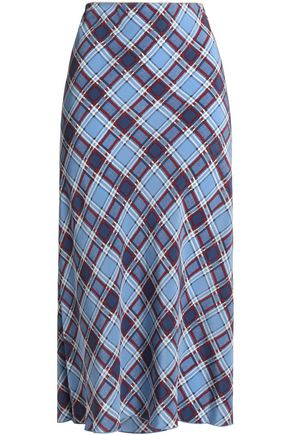 MARC JACOBS Checked silk crepe de chine midi skirt