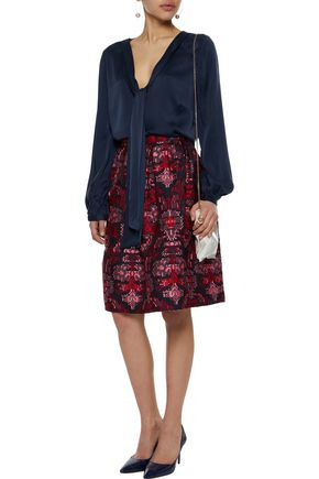 OSCAR DE LA RENTA Pleated jacquard skirt
