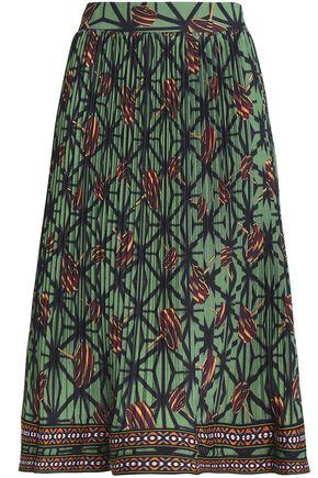 STELLA JEAN Printed plissé cotton-blend midi skirt