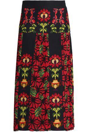STELLA JEAN Pleated printed stretch-cotton midi skirt