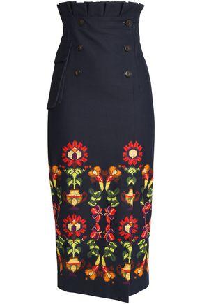 STELLA JEAN Printed stretch cotton-twill midi skirt