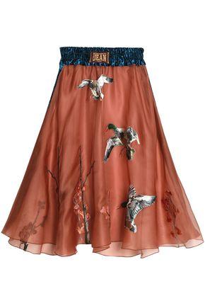 STELLA JEAN Fluted appliquéd silk-organza midi skirt
