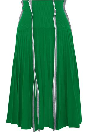 CEDRIC CHARLIER Pleated stretch-knit skirt