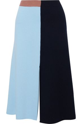 CEDRIC CHARLIER Color-block wool and cashmere-blend midi skirt
