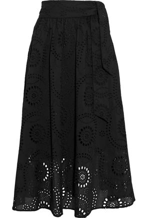 IRIS & INK Mel gathered broderie anglaise cotton midi skirt