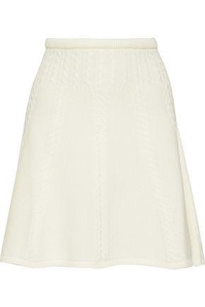 OSCAR DE LA RENTA Fluted cable-knit wool mini skirt