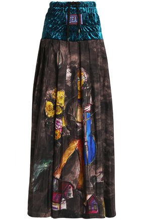 STELLA JEAN Velvet-paneled pleated printed crepe de chine maxi skirt