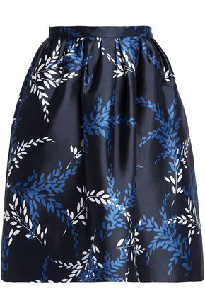 OSCAR DE LA RENTA Printed cotton and silk-blend twill skirt