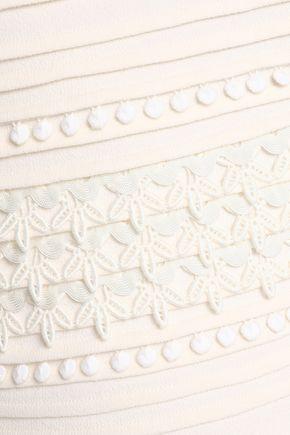 OSCAR DE LA RENTA Embroidered stretch-wool crepe pencil skirt