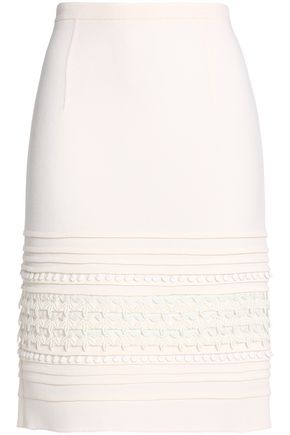 OSCAR DE LA RENTA Embroidered stretch-wool crepe pencil skirt