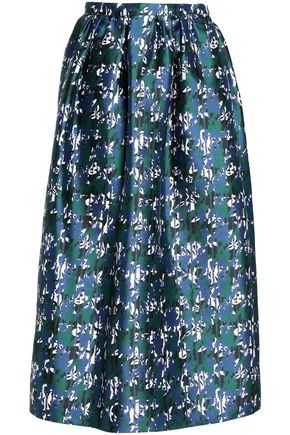 OSCAR DE LA RENTA Gathered silk-jacquard midi skirt