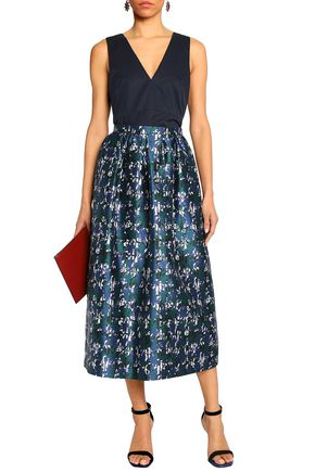 OSCAR DE LA RENTA Gathered silk-jacquard midi skirt